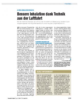 Asthma-Inhalationstherapie. Bessere Inhalation dank Technik aus der Luftfahrt, Deutsches Ärzteblatt Heft 17/2016 von Dr. Beate Grübler
