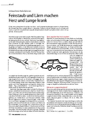 Feinstaub und Lärm machen Herz und Lunge krank, PNEUMONEWS Heft 8(4)2016 von Dr. Beate Grübler