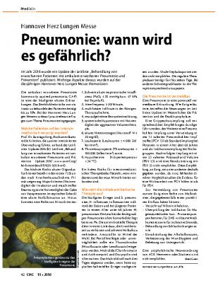 Pneumonie: wann wird es gefährlich?, CME Heft 11/20 von Dr. Beate Grübler