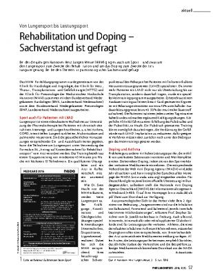 Rehabilitation und Doping – Sachverstand ist gefragt, PNEUMONEWS Heft 8(4)2016 von Dr. Beate Grübler