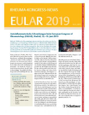 Kongressbericht vom EULAR 2019_ arthritis + rheuma_Heft 5-2019_Dr-Beate-Gruebler